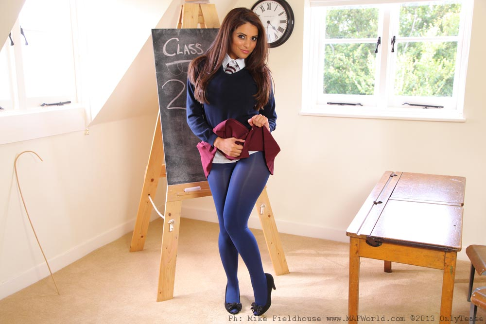 And Is In Detention On Video In Navy Blue Opaque Tights Then For Only Secretaries