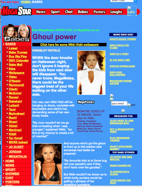 How a page from Megastar.co.uk looked, back in 2001.